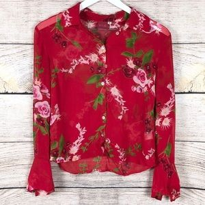 Johnny Was | 100% Silk Rose Button Down Top